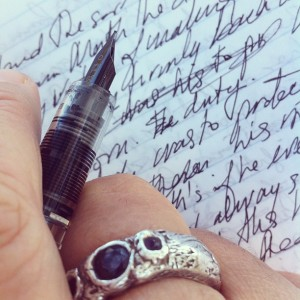 fountain pen with ring and handwriting